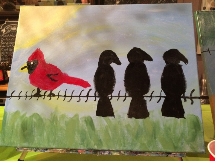 my birds on a wire painting