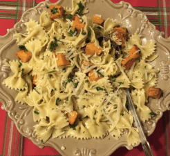 caramelized butternut squash and farfalle salad