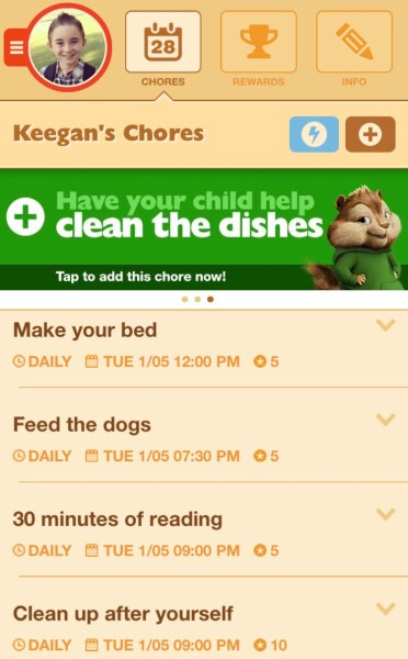 My son's view of his chores in the app