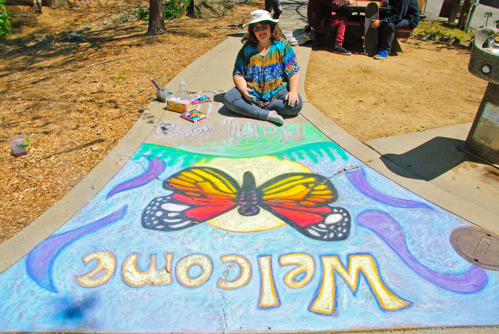 chalk art at the Mariposa Butterfly Festival