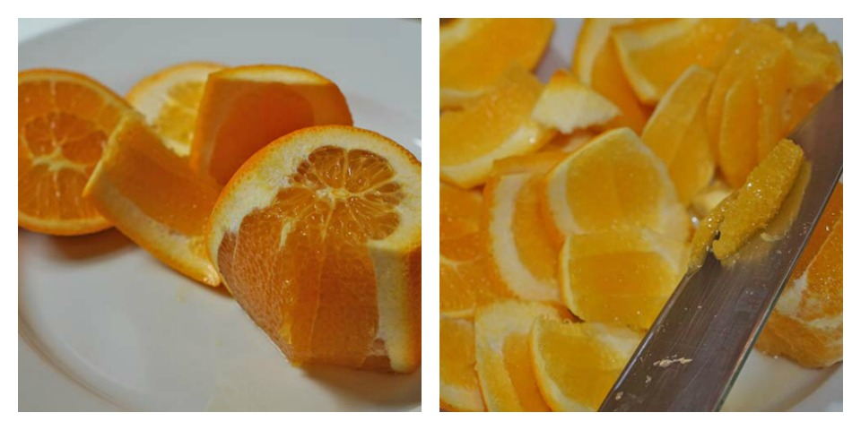 Peeling the oranges & cutting out the segments.