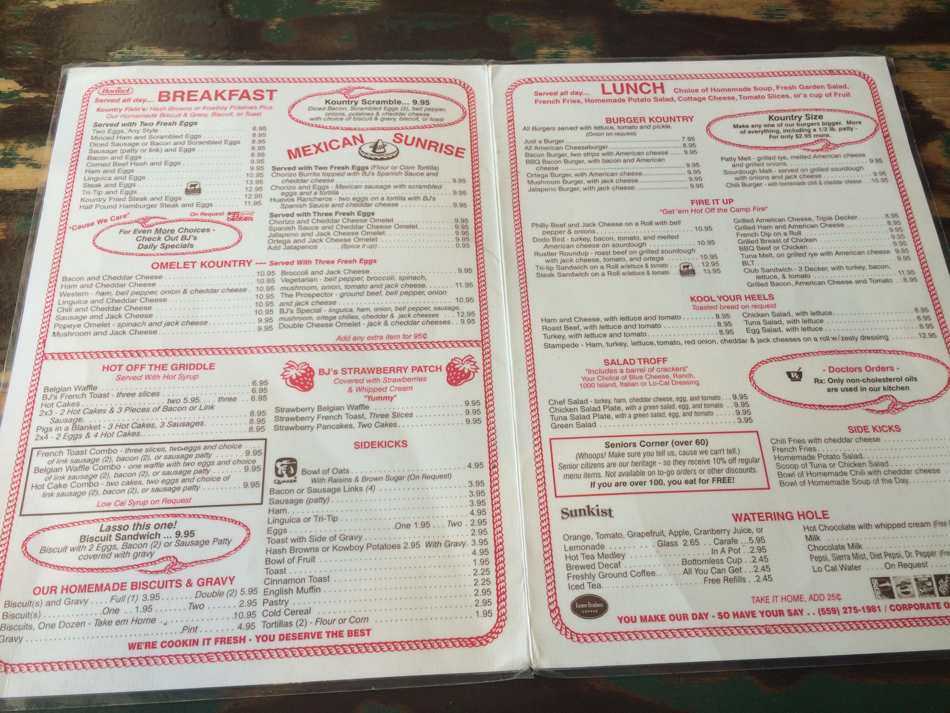 The menu at BJ's Kountry Kitchen
