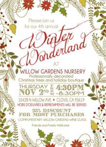 Enjoy a winter wonderland at Willow Gardens this Thursday