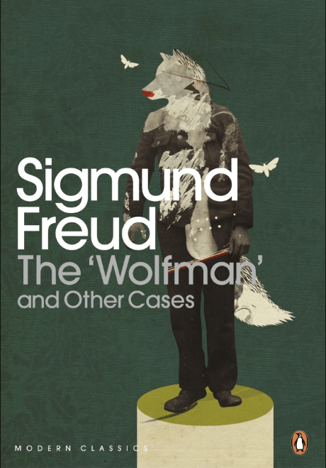Cover of book which details book title and an illustration of a wolfman - Sigmund Freud The Wolfman and other cases