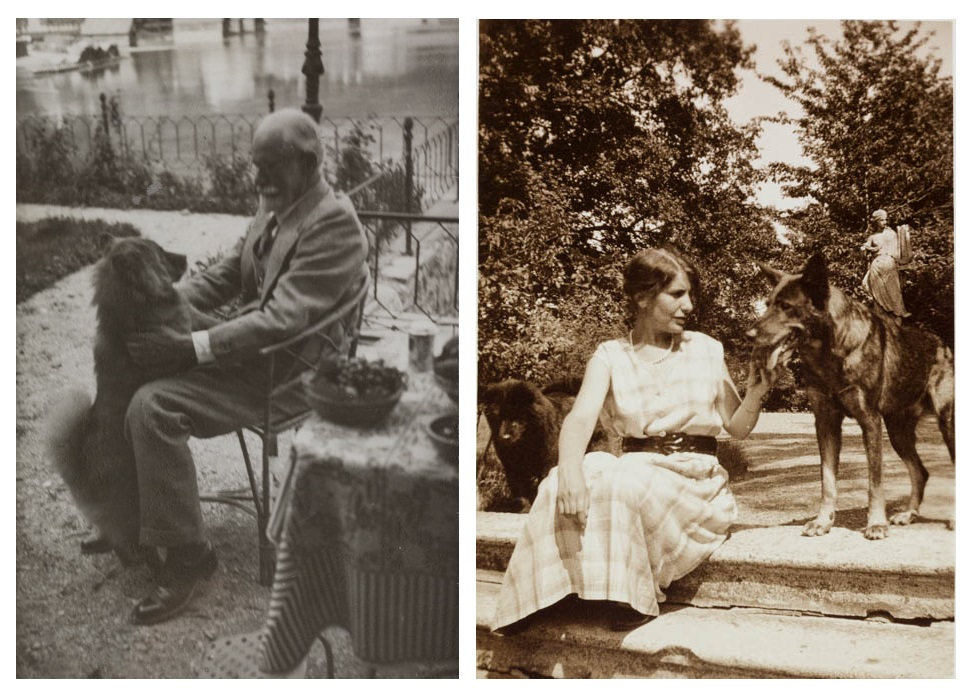 Sigmund and Anna Freud with their dogs
