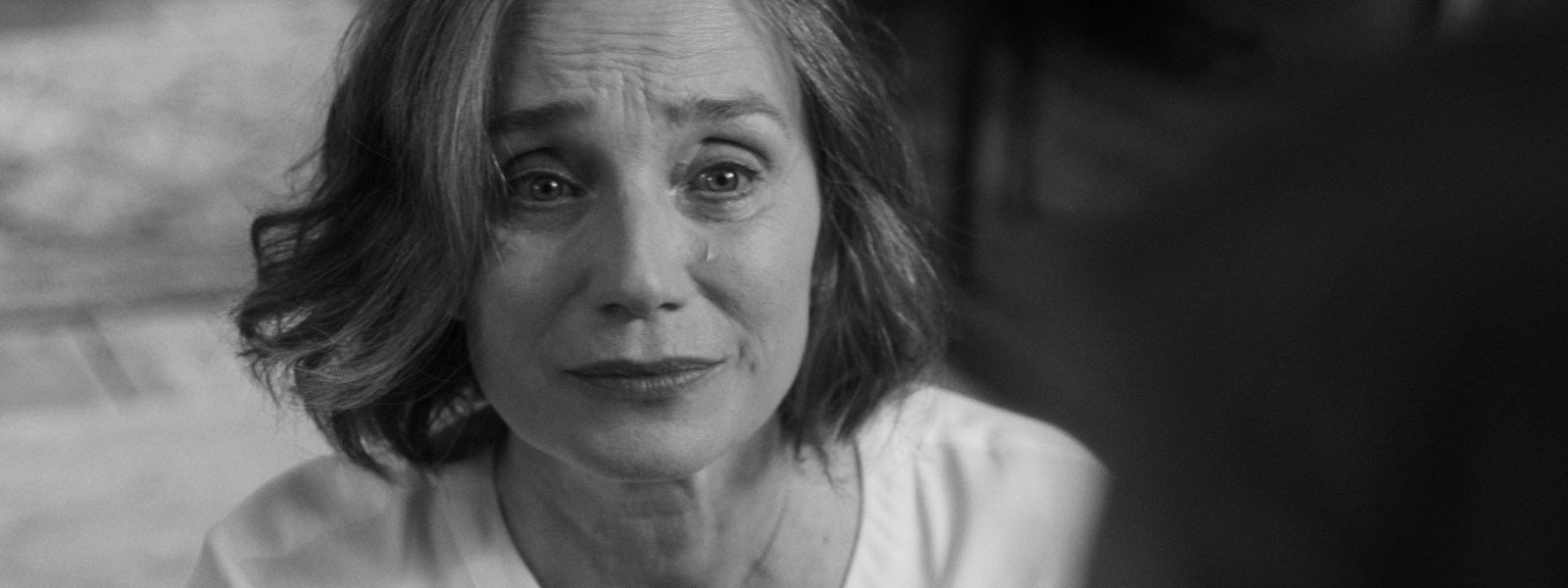 kristin scott thomas in the party - black and white image.