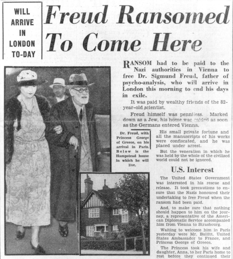 Freud Ransomed To Come Here Daily Herald 1938