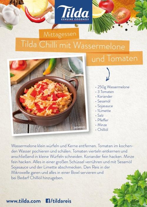 Chilireis mit Wassermeloone und Tomaten mit Tilda Basmati Reis - Freude am Kochen - vegan