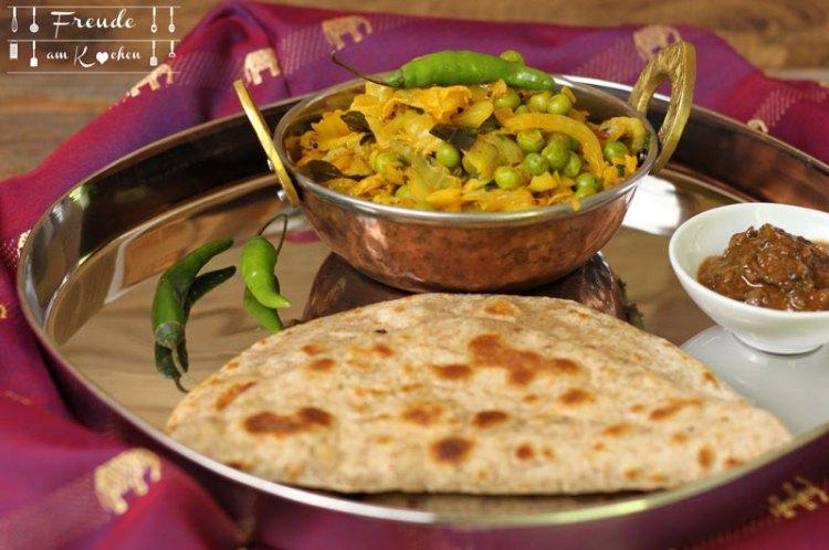 Indisches Chinakohl Erbsen Gemüse - Freude am Kochen vegan