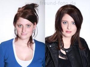 Junge Frau ungeschminkt und mit Shooting Schminke