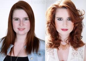 Vorher Nachher einer Frau mit Fotoshooting Make Up