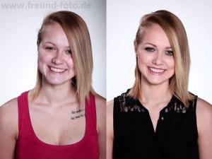 Junge Frau im direkten Vergleich mit Profi Make Up