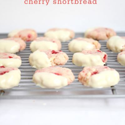 White-Chocolate Cherry Shortbread Cookies