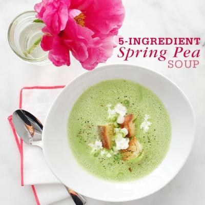 Spring Pea Soup with Goat Cheese