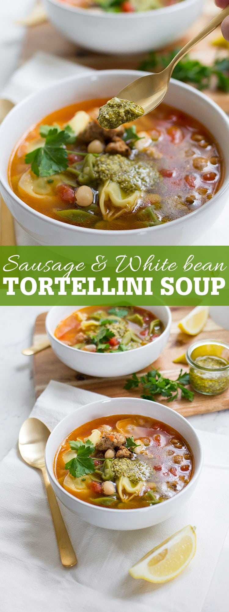 Sausage and white bean tortellini soup with pesto is an easy and comforting weeknight meal!