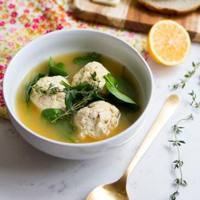 Chicken Ricotta Meatballs in Broth
