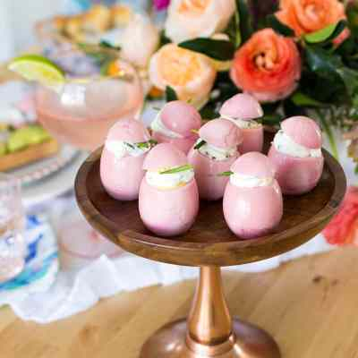 Pickled Pink Eggs with Herbed Cheese