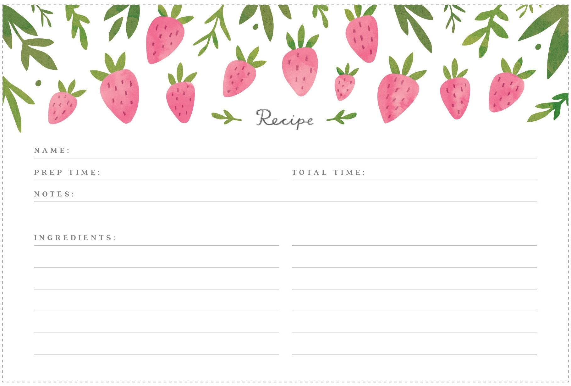 recipe printable cards card strawberry them february printables birthday freutcake front box