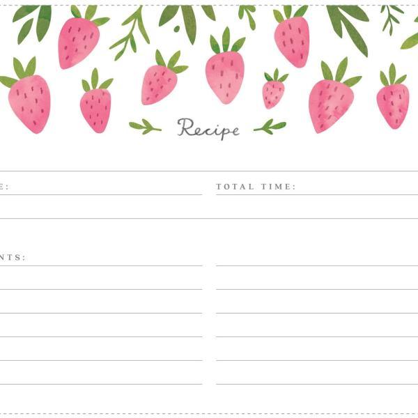 Printable Strawberry Recipe Cards