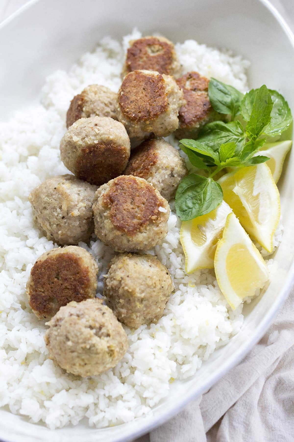 Greek Turkey Meatballs with Mint Feta Sauce - Freutcake