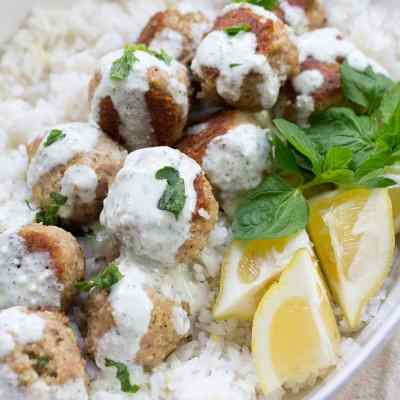 Greek Turkey Meatballs with Mint Feta Sauce
