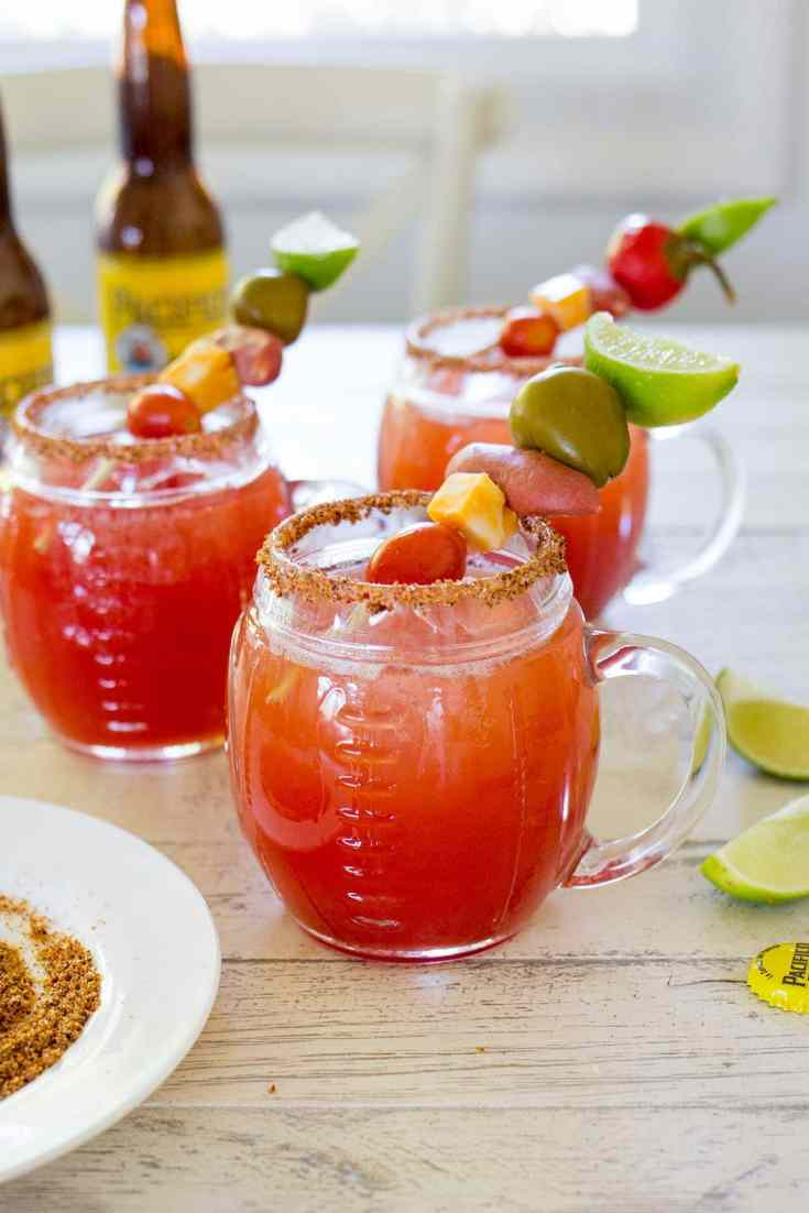 How to build your own Michelada bar include a recipe for Classic Mexican Beer and Tomato Juice Michelada Cocktails with loaded skewers, perfect for game day!