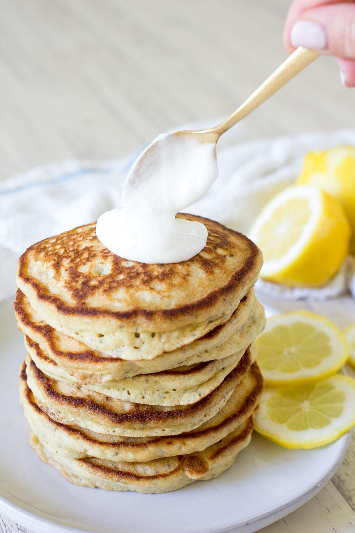 Lemon Chia Yogurt Pancakes