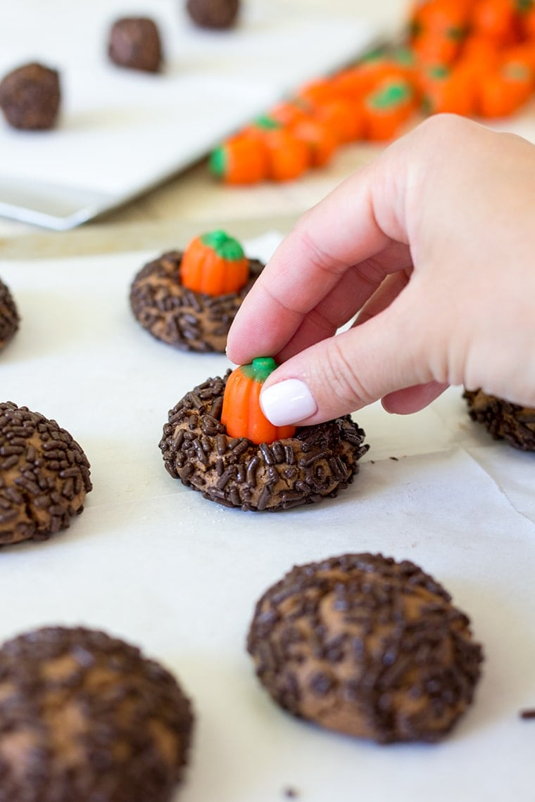 chocolate peanut butter pumpkin blossoms are the perfect halloween cookie classic peanut butter blossom cookies