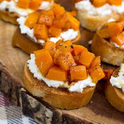 Roasted Butternut Squash & Ricotta Crostini