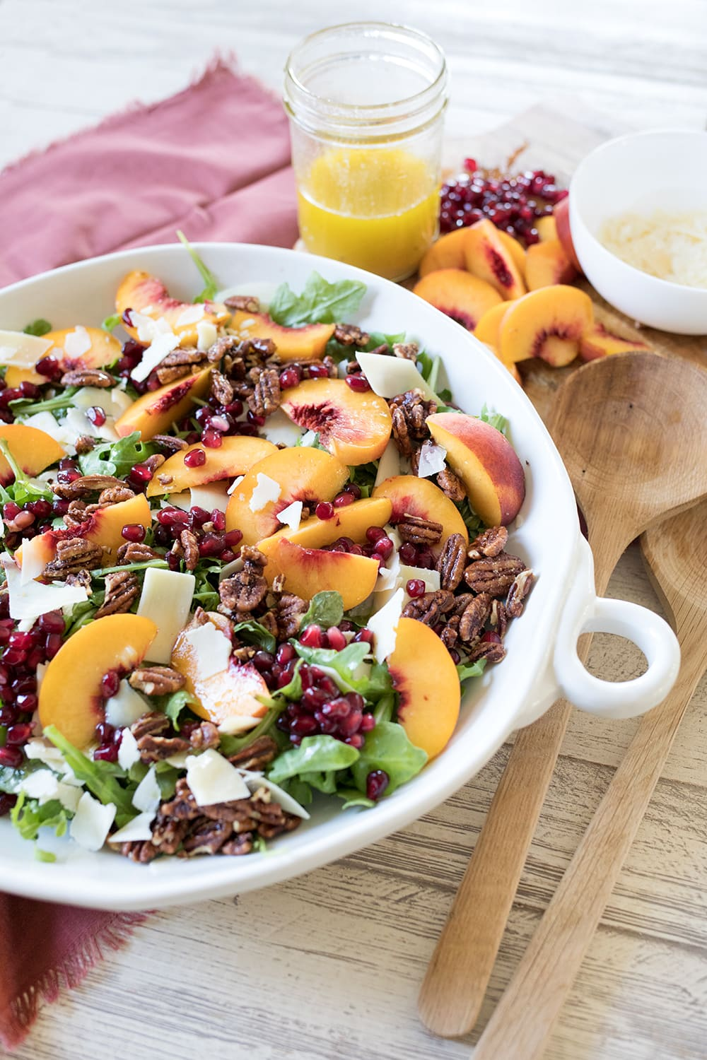 Arugula Peach Salad with Pomegranate and Pecans