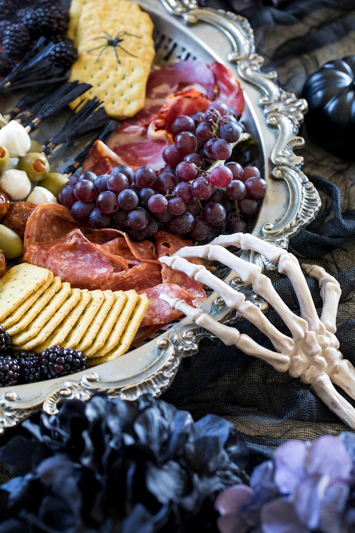 Halloween Charcuterie Board and Meatball Skewers