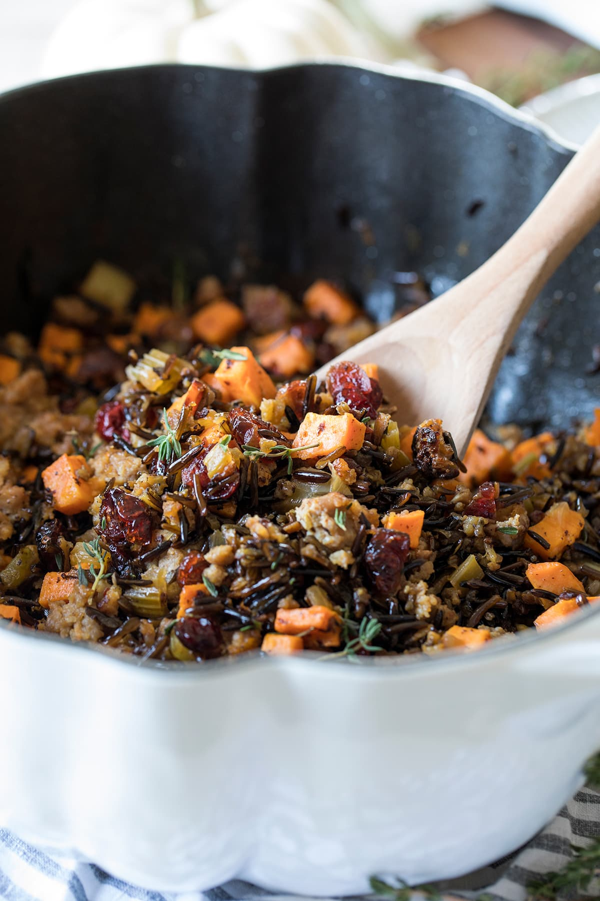 Wild Rice with Sausage Sweet Potato and Cranberries