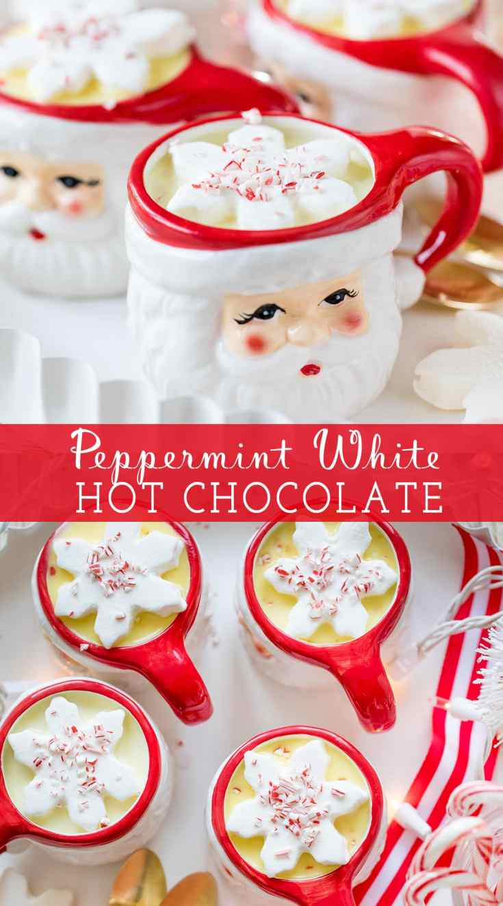 Homemade Peppermint White Hot Chocolate is a festive non-alcoholic Christmas drink the whole family will love! Top it with marshmallows and crushed candy canes for a Christmas treat.