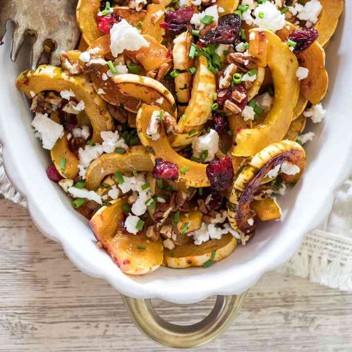 Roasted Delicata Squash with Cranberries and Feta
