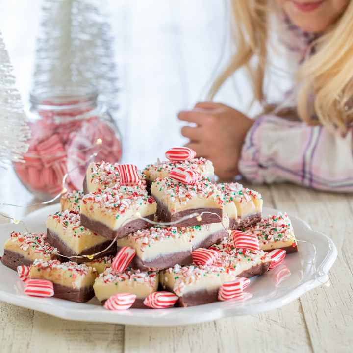 Easy Layered White Chocolate Peppermint Fudge