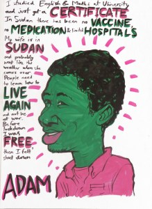 Drawing of Sudanese man surrounded by text