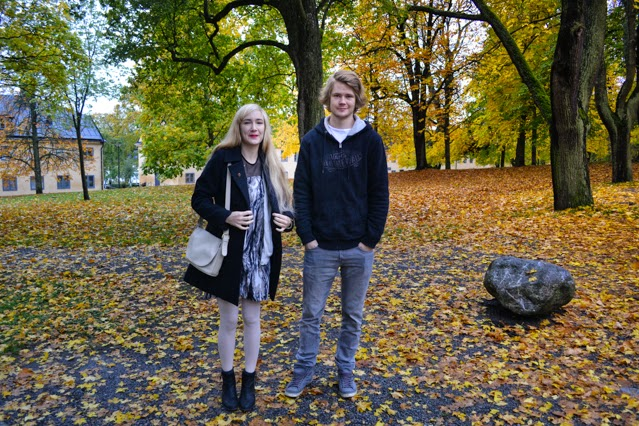 People and autumn leaves