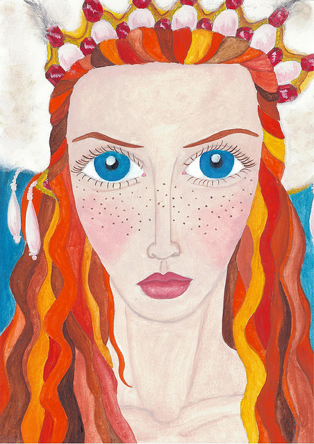 Painting of Lily Cole Ice Queen Head dress Vogue big eyes