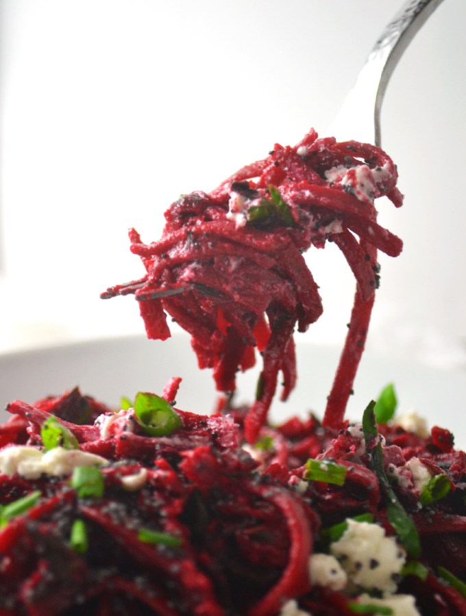 Beet Linguine with Swiss Chard, Goat Cheese, and Poppy Seeds - Fridge to Fork