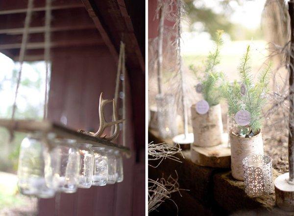 Winterliche Hochzeitsdeko mit Birkenholz und Fell