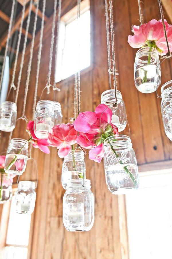 Hngende Blumendeko fr die Hochzeit