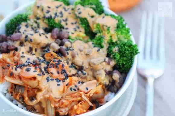 fried dandelions // kim chi bowl