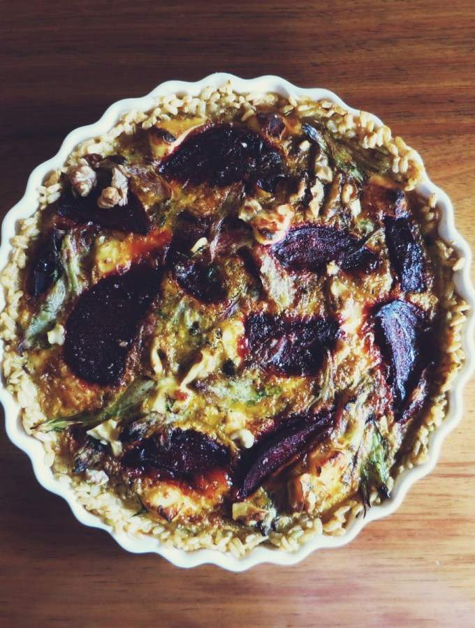 Balsamic Beetroot & Caramelised Fennel Tart with Brown Rice Crust