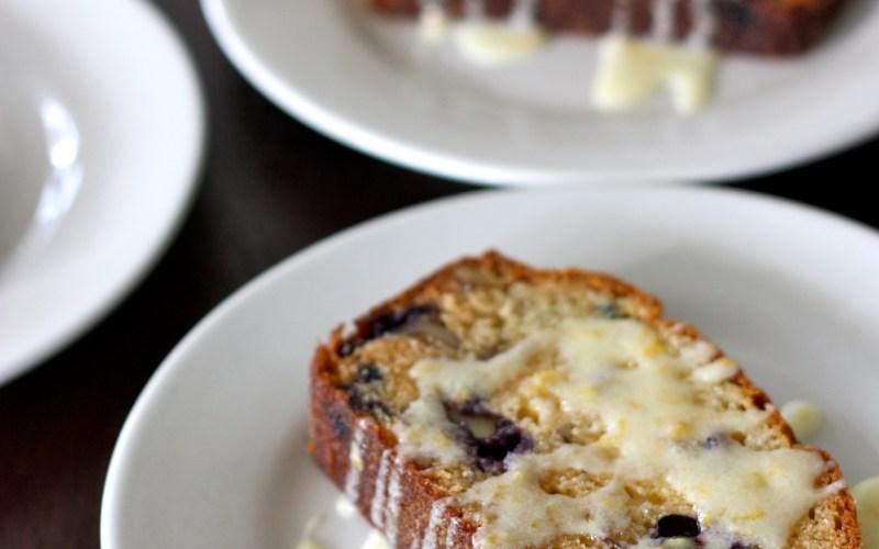 Blueberry Walnut Amish Friendship Bread with Lemon Glaze