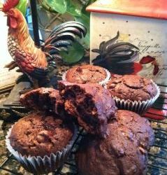 Chocolate Chocolate Chip & Coconut Amish Friendship Bread Muffins