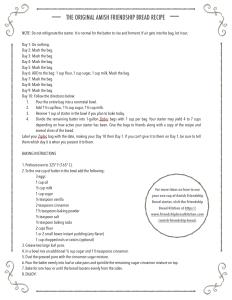 Printable Fun Menu Amish Friendship Bread Instructions | friendshipbreadkitchen.com