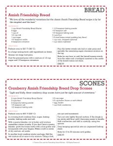 Printable Amish Friendship Bread Recipe and Scone Card | friendshipbreadkitchen.com