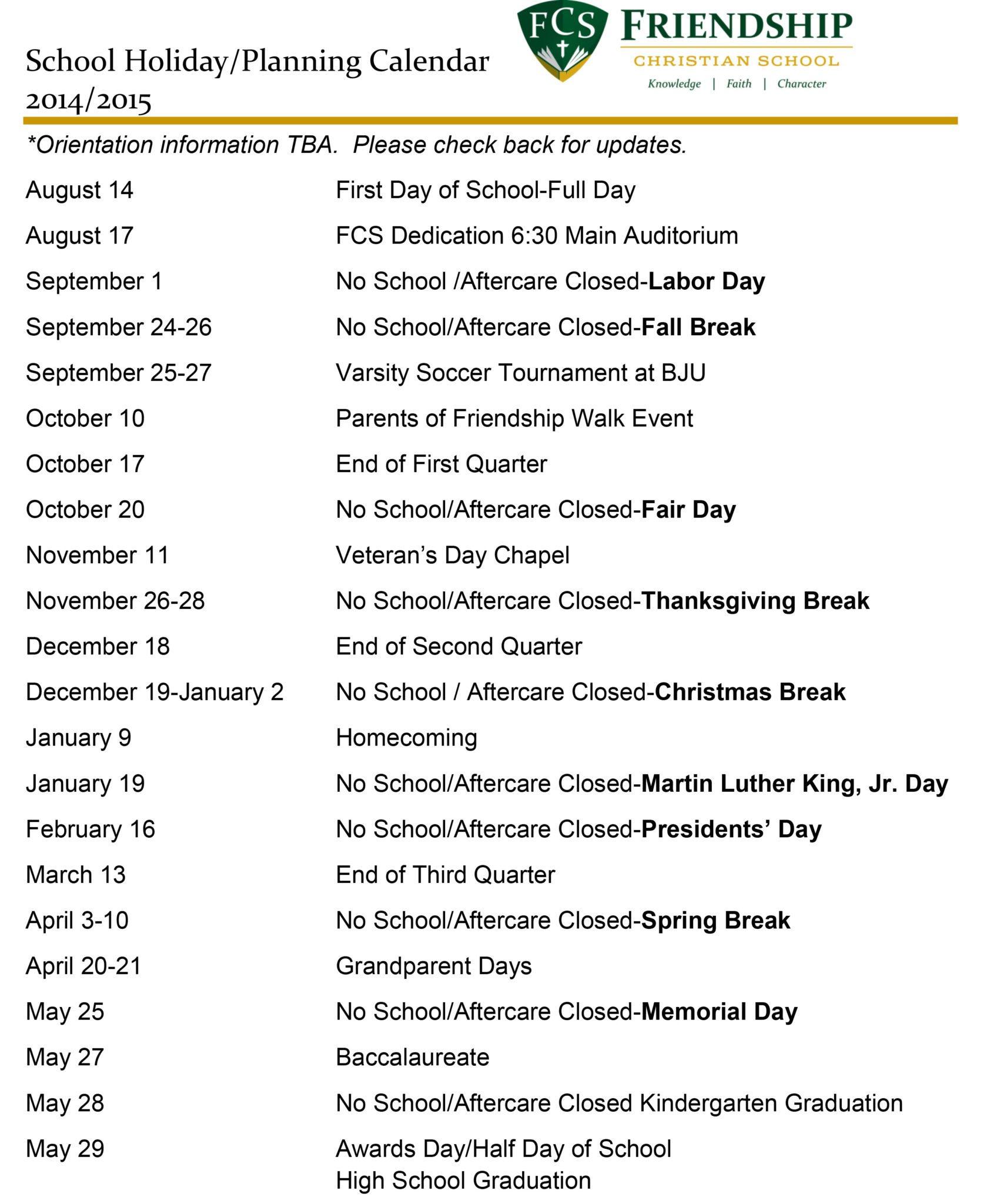 15 School Holiday Planning Calendar