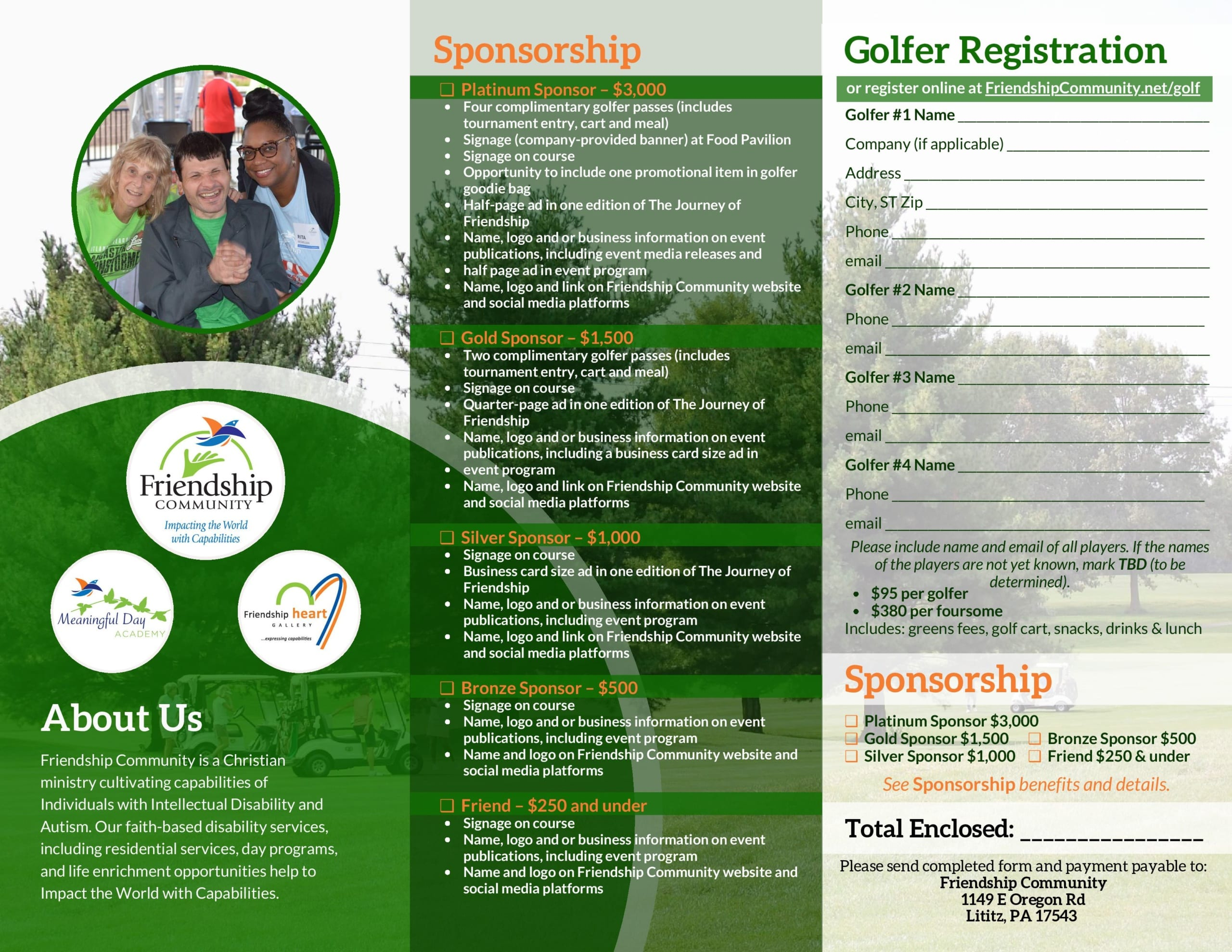 Friendship Community - Irvin C. Enck Memorial Golf Tournament Thursday, September 10, 2020