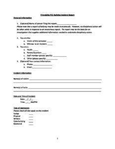 Friendship Bullying Incident Report - Friendship Public Charter School